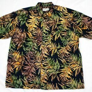 Orivs Mens Short Sleeve Button Front Flora Shirt S